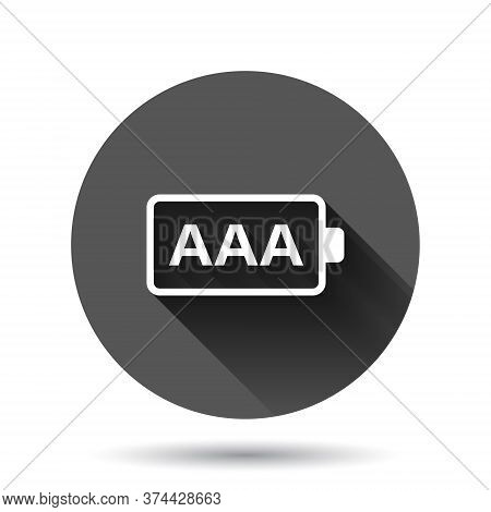 Aaa Battery Icon In Flat Style. Power Level Vector Illustration On Black Round Background With Long