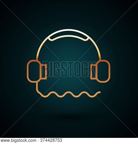 Gold Line Headphones Icon Isolated On Dark Blue Background. Support Customer Service, Hotline, Call