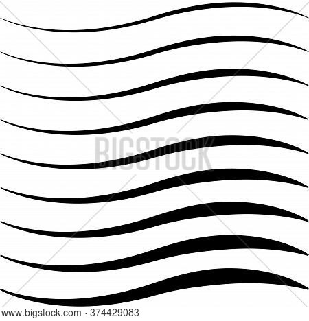 Set Of Curved Calligraphic Lines Strips, Ribbon Twisting Vector, As A Road Element Calligraphy Elega