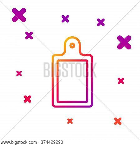 Color Line Cutting Board Icon Isolated On White Background. Chopping Board Symbol. Gradient Random D