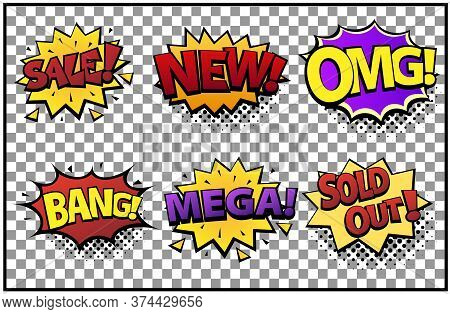 Comic Speech Bubbles Set With Different Emotions And Text Sale, New, Omg, Bang, Mega, Sold Out . Vec