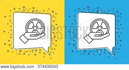 Set Line Radioactive In Hand Icon Isolated On Yellow And Blue Background. Radioactive Toxic Symbol.
