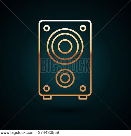 Gold Line Stereo Speaker Icon Isolated On Dark Blue Background. Sound System Speakers. Music Icon. M