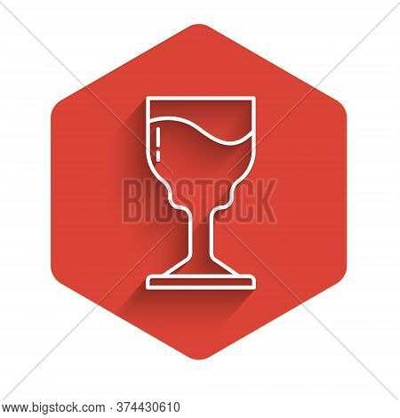 White Line Wine Glass Icon Isolated With Long Shadow. Wineglass Icon. Goblet Symbol. Glassware Sign.