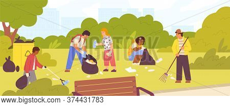 Group Of Diverse Children Cleaning Up City Park Vector Flat Illustration. Boys And Girls Collecting