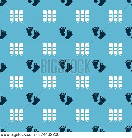 Set Baby Footprints And Wax Crayons For Drawing On Seamless Pattern. Vector