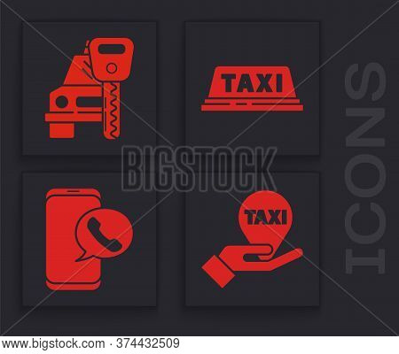 Set Hand On Map Pointer With Taxi, Car Rental, Taxi Car Roof And Taxi Call Telephone Service Icon. V