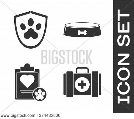 Set Pet First Aid Kit, Animal Health Insurance, Clipboard With Medical Clinical Record Pet And Pet F