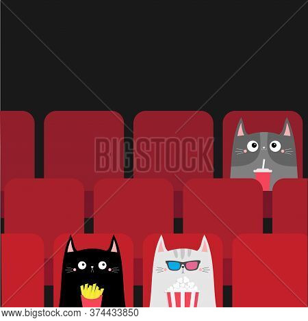 Cat Set In Movie Theater Eating Popcorn, French Fries, Soda. Cute Cartoon Character. Film Show Cinem
