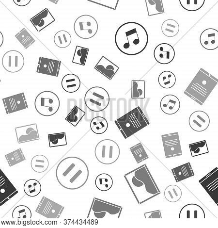 Set Music Note, Tone, Picture Landscape, Tablet And Pause Button On Seamless Pattern. Vector