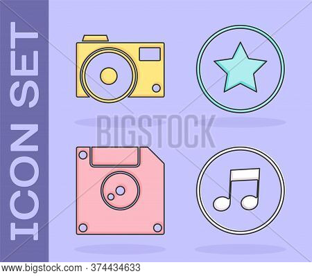 Set Music Note, Tone, Photo Camera, Floppy Disk For Computer Data Storage And Star Icon. Vector