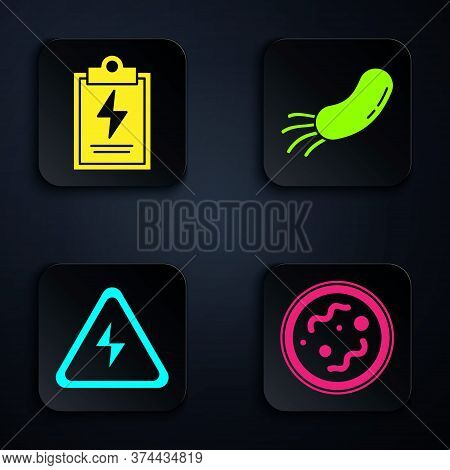 Set Bacteria, Laboratory Clipboard With Checklist, High Voltage Sign And Bacteria. Black Square Butt