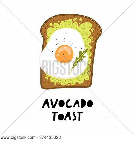 Avocado Toast. Fresh Toasted Bread With Avocado And Fried Egg.