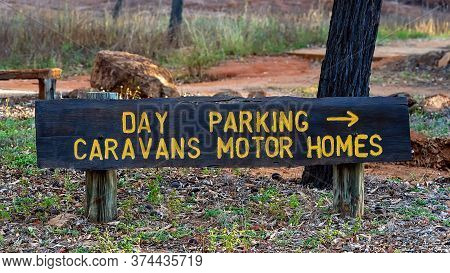 Day Parking Sign For Caravans And Motor Homes In An Australian Outback Bush Park
