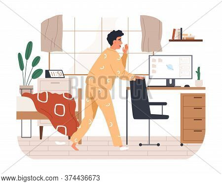 Yawn Freelancer Man Missing The Deadline Vector Flat Illustration. Remotely Work Employee Overslept