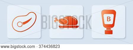 Set Roasted Turkey Or Chicken, Steak Meat And Sauce Bottle. White Square Button. Vector