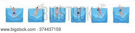 Set Of Different Sinking People Vector Flat Illustration. Collection Of Man, Woman And Child In Swim