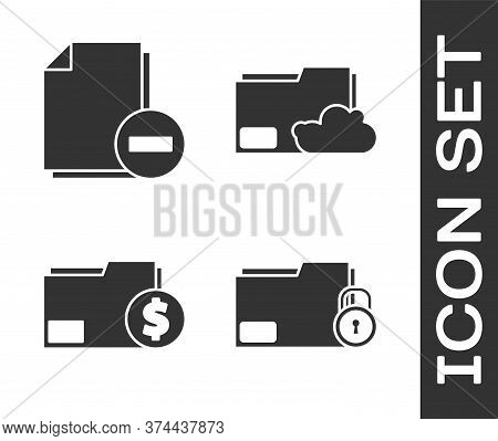 Set Folder And Lock, Document With Minus, Finance Document Folder And Cloud Storage Text Document Fo