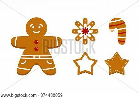Set, Collection Of Vector Gingerbread Cookies In Different Shapes. Gingerbread Man, Star, Snowflake,