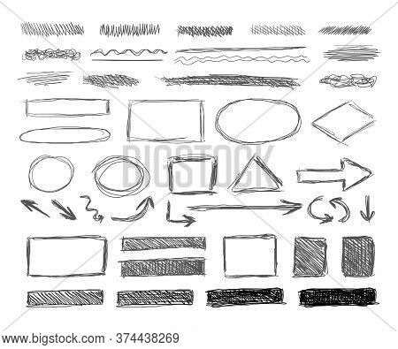 Vector Set Of Grunge Hand Drawn Design Elements Isolated On White Background, Shaded Textures And Un