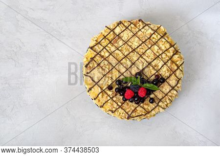 Classic Napoleon Cake Top View. Delicious Festive Layered Dessert With Puff Pastry And Custard Decor