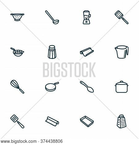 Dishware Icons Line Style Set With Pan, Blender, Tin Foil And Other Beater Elements. Isolated Vector