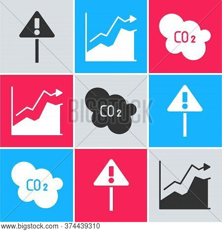 Set Exclamation Mark In Triangle, Oil Price Increase And Co2 Emissions In Cloud Icon. Vector