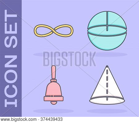 Set Geometric Figure Cone, Infinity, Ringing Bell And Geometric Figure Sphere Icon. Vector