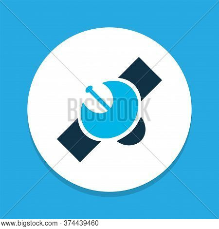 Satellite Icon Colored Symbol. Premium Quality Isolated Sputnik Element In Trendy Style.