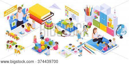 Child Development Online Distant Preschool Learning Virtual Educational Toys Books Globe Building Bl