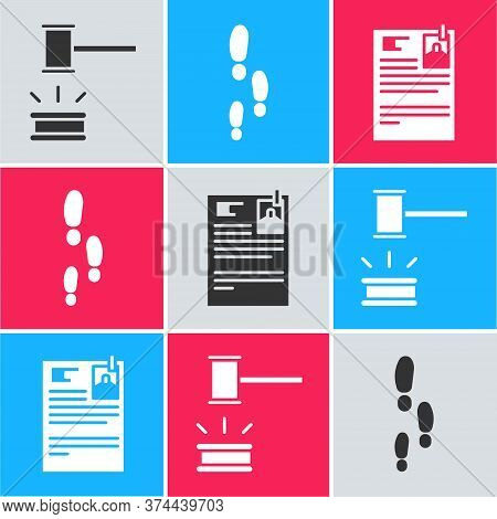 Set Judge Gavel, Footsteps And Lawsuit Paper Icon. Vector