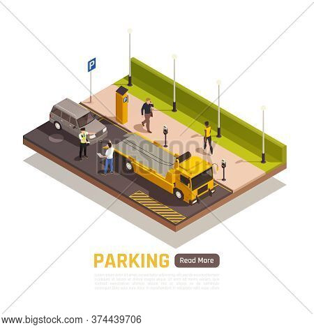 Parallel Parking Next To Curb Isometric Element With Wrong Parked Vehicle Driver Dispute With Police