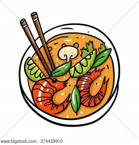 Tom Yum Thai Food. Cartoon Vector Illustration. Isolated On White Background.