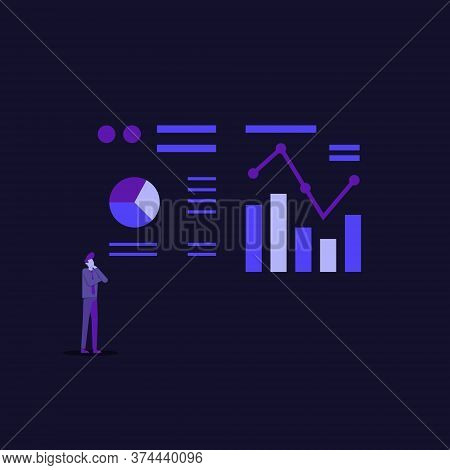 Statistics Charts Analysis On Computer Screen Monitoring. Flat Vector Infographic Analytic Trend Gra