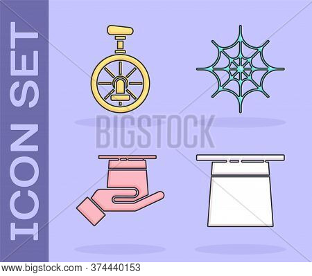 Set Magician Hat, Unicycle Or One Wheel Bicycle, Magician Hat In Hand And Spider Web Icon. Vector