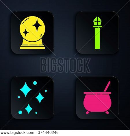 Set Witch Cauldron, Magic Ball, Sparkle Stars With Magical Glitter And Magic Staff. Black Square But