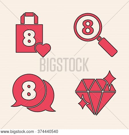 Set Diamond, Shopping Bag With Heart, Search 8 March And 8 March In Speech Bubble Icon. Vector