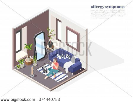 Allergy Symptoms Concept With Risk Factors Symbols Isometric Vector Illustration