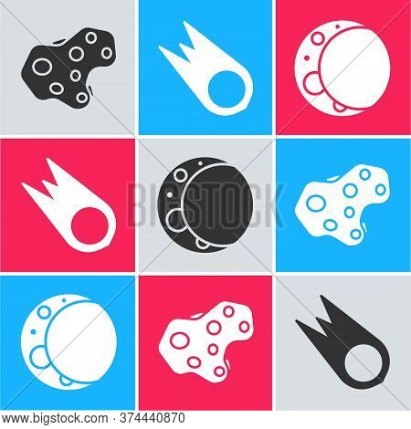 Set Asteroid, Comet Falling Down Fast And Moon Icon. Vector