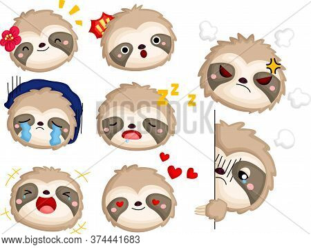 A Vector Of Many Face And Emotions Of A Sloth