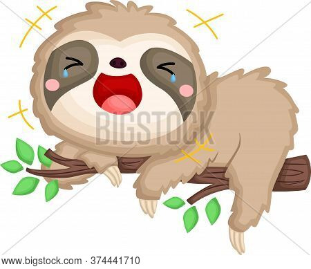 A Vector Of A Sloth Laughing Out Loud
