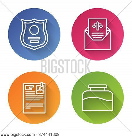 Set Line Police Badge, Subpoena, Lawsuit Paper And Inkwell. Color Circle Button. Vector