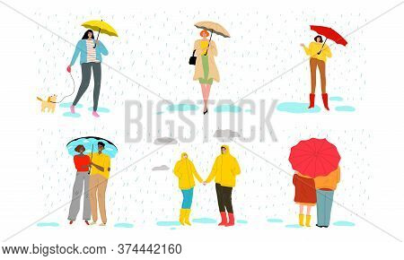 Couples, Families And Children Enjoying Rainy Weather Together