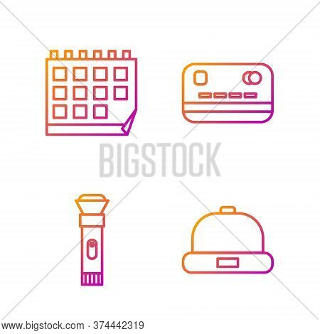 Set Line Beanie Hat, Flashlight, Calendar And Credit Card. Gradient Color Icons. Vector