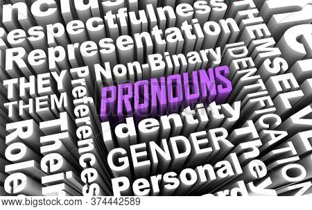 Pronouns Gender Identity Non-Binary Personal Preference Choices 3d Illustration