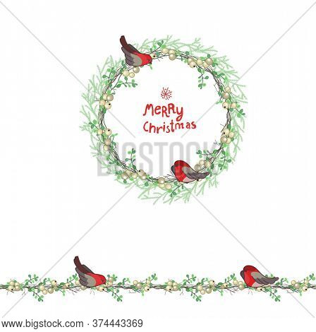 Christmas template with bullfinches and white beries. Round frame with fir branches
