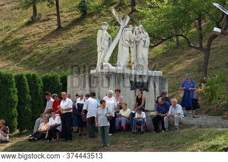 MARIJA BISTRICA, CROATIA - SEPTEMBER 14, 2013: Participants of the Way of the Cross in Croatian national shrine of the Virgin Mary in Marija Bistrica, Croatia