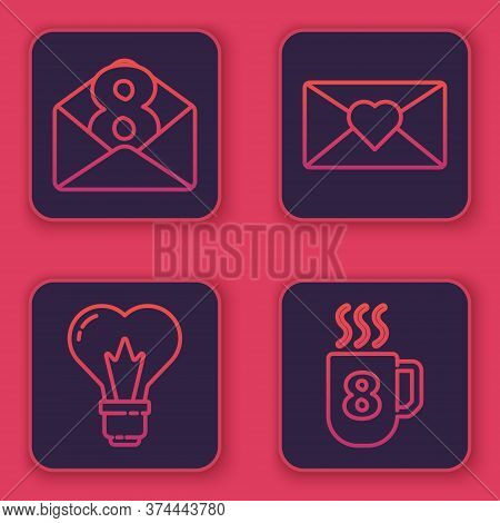 Set Line Envelope With 8 March, Heart Shape In A Light Bulb, Envelope With 8 March And Coffee Cup Wi