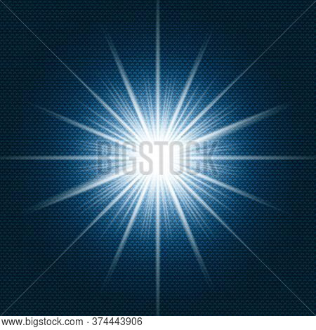 Starlight Shining Flare With Rays On Dark Blue Gradient Background And Chevron Pattern Texture. Vect