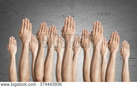 Row Of Man Hands Showing Voting Gesture. Participation And Agreement Group Of Signs. Human Hands Ges